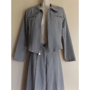 2 Piece Vintage Gingham Outfit Jacket + Pants